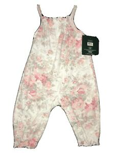 Laura Ashley Coveralls Baby Girl Pink White Gray Flowers Floral 3-6 Months