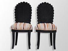 paire chaise de style floquée noire