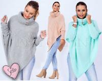 9 Damen Poncho Sweatshirt Pullover Cardigan Sweat Jacke Strickjacke Neu