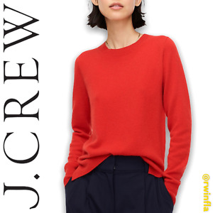 J Crew  Cashmere Crewneck Sweater Solid Red Preppy Red NWT Women's Size M