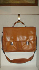 roots TOP QUALITY ALL LEATHER EXECUTIVE LAP TOP BRIEFCASE X-BODY  SATCHEL $450RT