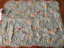 WAVERLY Standard Pillow Sham Quilted Green Floral cotton Reversed To Stripe