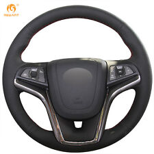 Black Genuine Leather Steering Wheel Cover for Chevrolet Malibu 2011-2014