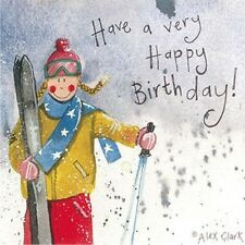 SKI GIRL compleanno carta da Alex Clark, sci, LADY SCI greeting card
