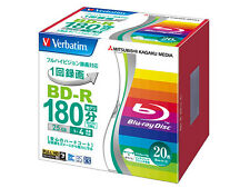 20 Verbatim Bluray DVD DL 25GB BD-R 4x Speed 3D Blank BDs Inkjet Printable.