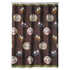 Allure Awesome Owls Fabric Shower Woodsy Curtain Bath Home Bird Decor