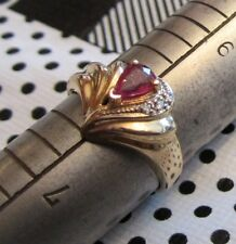 Claddagh ring in 14K GOLD with a Pear Shaped RUBY AND DIAMONDS Sz   8