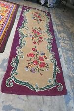 "Antique / Vintage Primitive American Hand Hooked Rug Runner  2'9"" x 7'9"" Fabric"