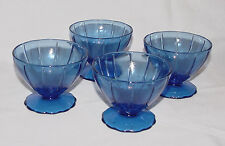 """FOUR IMMACULATE Vintage Cobalt Blue """"NEWPORT/HAIRPIN"""" Sherbet Dishes - 2 Sets!!"""