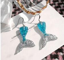 BLUE, SILVER MERMAID FISHTAIL GLITTER DANGLE EARRINGS