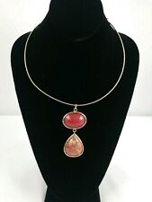 CHICOS BOHO Chunky Red Pink Stone Gold Tone Pendant STATEMENT NECKLACE Choker