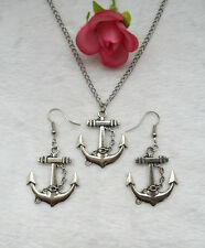 1 sets of Vintage Silver Anchor Pendant Necklace Earrings accessories