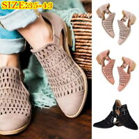 Women Spring Summer Low Heel Closed Pointed Toe Boot Sandals Flat shoes Hollow