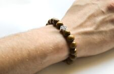 Silver Infinity bracelet with wood beads for men