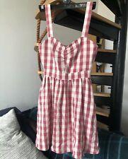 Zara Check Dress Strappy Gingham Red Pink Mini Vintage Xs 4 6