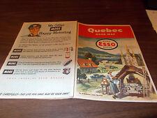 1951 Esso Quebec Vintage Road Map /  Nice Cover Art !!