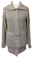 Womens J+Y JESSY Big Button Long Belted Luxury Cardigan Jumper - Size 10 12 14