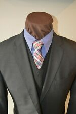 Hugo Boss 2btn dark gray mini waffle ticket pocket slim wool suit 42R pant 35x31