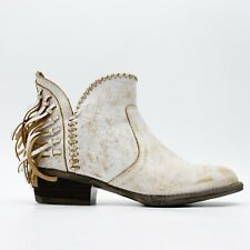 New Circle G Women US 8 Low Cowboy Boot Rugged Leather Ivory Booties