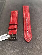 NEW BREITLING 18M X 16MM RED CROCODILE STRAP WITH BREITLING TANG BUCKLE