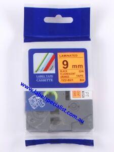 Brother TZe-B21 compatible laminated 9mm x 8m Black-on-Fluo OrangeTape