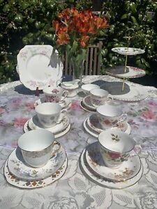 Vintage Shabby Chic 22 Piece Mismatch Tea Set  inc. 3 Tier Cake Stand