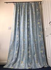 """Pr Blue Floral Stripe Lined Curtains 50""""W/84""""L"""