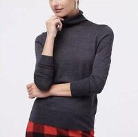 J. Crew Womens Top Black Turtleneck Sweater Merino Wool Blend Size Small