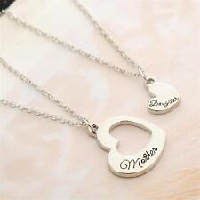 2PC/Set Silver Puzzle Mother Daughter Pendant Necklace Women Party Charm Heart