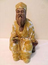 "Vintage Large Chinese Yellow Robe Scholar Ceramic Mud Man Statue Figure 12"""