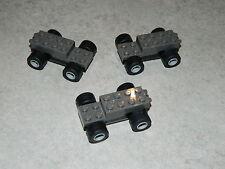 LEGO 3x pull back motors with wheels sleek tyres car base freestyle pullback