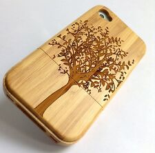 iPhone 4/4s Bamboo Wood Case ( Tree Laser Engraving ) 100% Genuine Wood Cover✔️