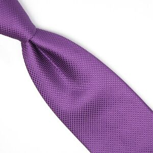Gladson Mens Silk Necktie Solid Grape Purple Textured Weave Woven Tie Italy