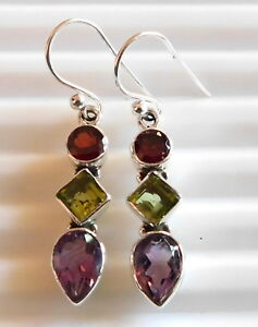4.20 Gm 925 Solid Sterling Silver Natural Multi Cut Stone Earring Gemstone i2396