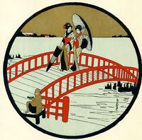 1930s French Pochoir Print Art Deco LAFUGIE Japanese Geisha On Red Bridge