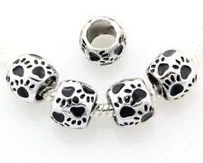 20pcs Dog Pet Paw Footprint Foot Print Charm Beads Fit European Bracelet E42