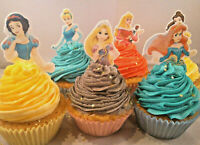 12 x DISNEY PRINCESS HALF BODY STAND UP Precut Edible Cupcake Cake Toppers