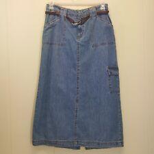 White Stag 10 Skirt Blue Jean Denim Long Modest Church Back Slit Brown Belt