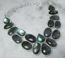 NATURAL 142 CT EXOTIC FIRE LABRADORITE NECKLACE ~ 925 STERLING SILVER