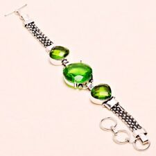 """Sz 7.5"""" Jewelry 0610 Peridot Gems Handmade Bracelet"""
