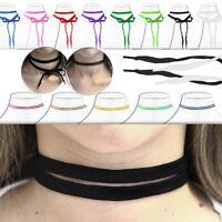 Damen Halsband Kropfband Choker Doppel-Halskette Schwarz Gothic Punk Accessoire