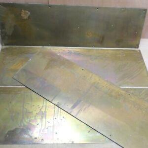 "Brass Door Kick Plates x4 Large 28 3/4"" x 9"" Reclaimed Vintage Heavy Duty"