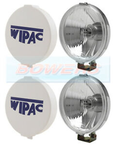 """CLASSIC MINI CHROME WIPAC 5 1/2"""" SPOT LIGHTS SPOT LAMPS BOXED PAIR WITH COVERS"""