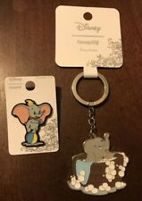 Disney Loungefly Dumbo Bathtub and Bubbles Keychain & Dumbo Circus Ball Pin SET