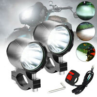 2x Motorrad LED Lampe Zusatzscheinwerfer Scheinwerfer T6 Tagfahrlicht + Schalter