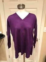 Eileen Fisher Petite Purple V-Neck Sweater, Size PP