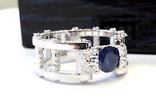 Men's 14K White Gold  Wedding Band With 1.70 ct Blue Sapphire by Sacred Angels