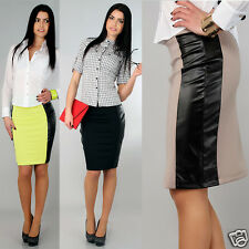 Women's Classic Pencil Skirt with Eco Leather New Elegant Strip Sizes 8-16 FA135