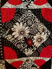 Modern Red, Black, and White Flowers Quilt