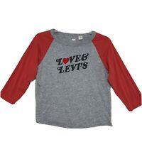 Levi's Raglan Tee T Shirt Womens Sz S Small LOVE LEVI'S Gray Orange 3/4 Sleeve